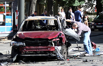На месте взрыва автомобиля, в котором находился журналист Павел Шеремет