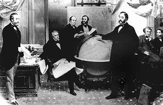 Подписание договора о продаже Аляски 30 марта 1867 года. Классическая картина художника Эмануэля Лойце