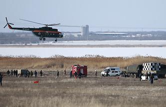 На месте крушения Су-24МР в 7 км от аэродрома Мариновка, 11 февраля 2015 года