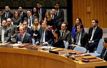 Постоянный представитель США при ООН Никки Хейли голосует против резолюции против признания Иерусалима столицей Израиля