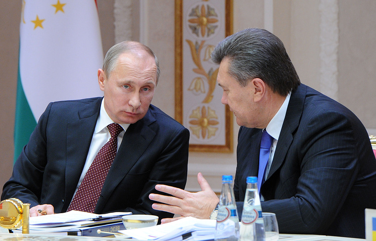 Президент РФ Владимир Путин и президент Украины Виктор Янукович