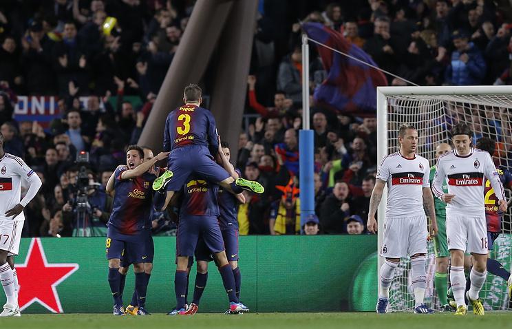 "Футболисты ""Барселоны"" празднуют победу"