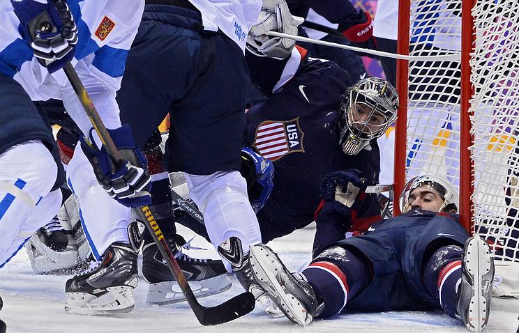 Хоккеисты сборной США в матче за бронзу Игр в Сочи