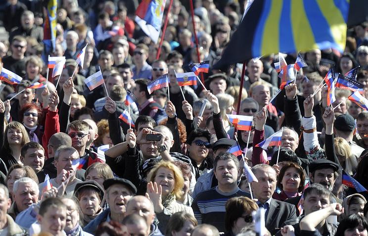 Митинг сторонников пророссийских сил в Донецке. 23.03.2014