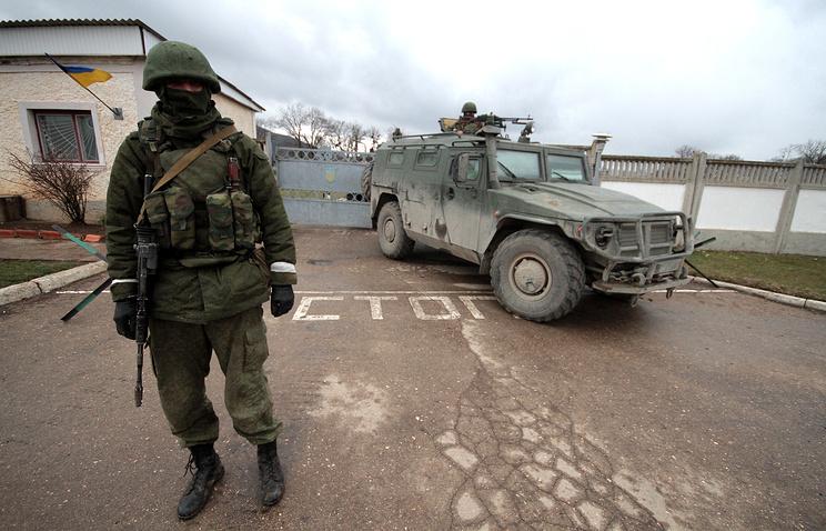 КПП 36-й бригады береговых войск ВС Украины в селе Перевальное в Крыму