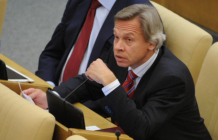 Председатель комитета ГД по международным делам Алексей Пушков на заседании Государственной думы РФ