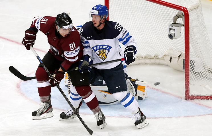 Матч сборных Финляндии и Латвии на чемпионате мира