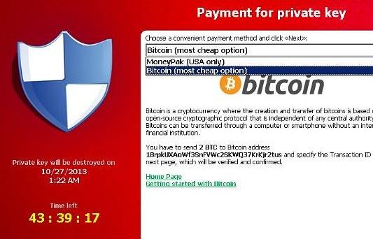 Скриншот с предложением заплатить биткоины за расшифровку данных компьютера