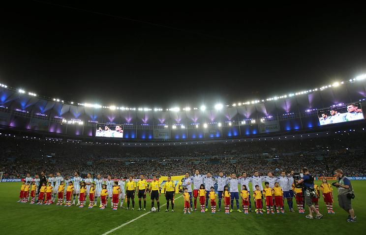 Команды Аргентины и Боснии и Герцеговины перед стартовым свистком