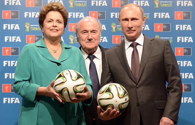 Президент Бразилии Дилма Руссефф, президент ФИФА Йозеф Блаттер и президент России Владимир Путин
