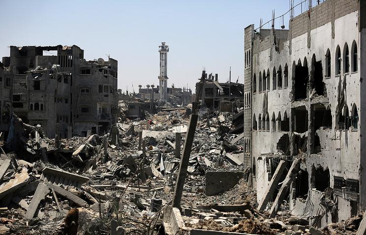 Последствия авиаударов по пригороду Газы