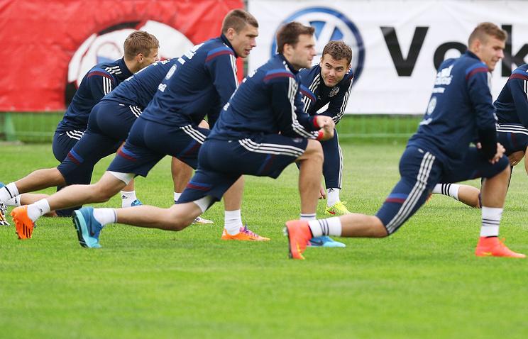На тренировке сборной России