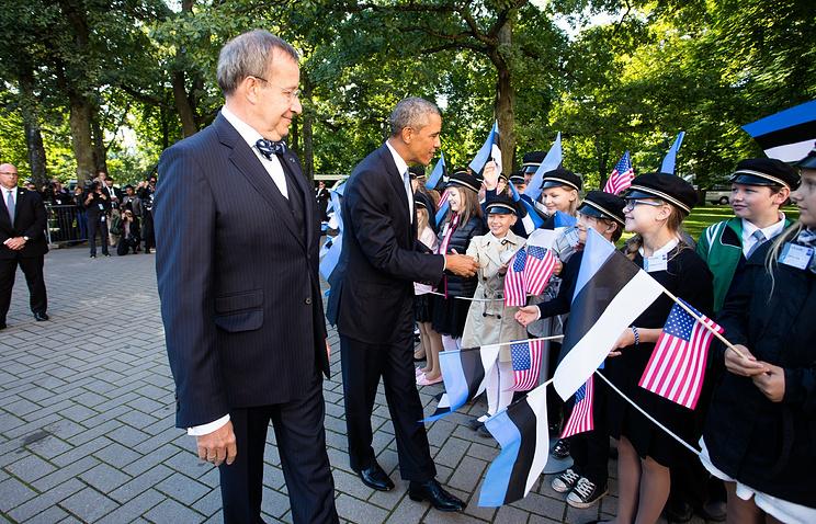 Президент Эстонии Тоомас Хендрик Ильвес и президент США Барак Обама