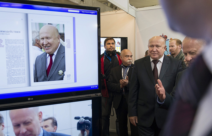 Губернатор Нижегородской области Валерий Шанцев (в центре) на II Международном бизнес-саммите на территории Нижегородской ярмарки