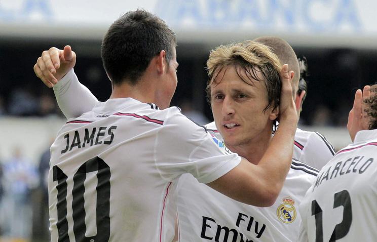 """Игроки """"Реала"""" Хамес Родригес (слева) и Лука Модрич (справа)"""
