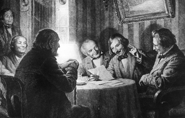 """Офорт """"Гоголь читает """"Ревизора"""" писателям и артистам Малого театра"""""""