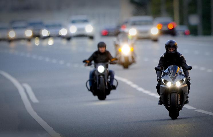Мотоциклисты на улицах Москвы