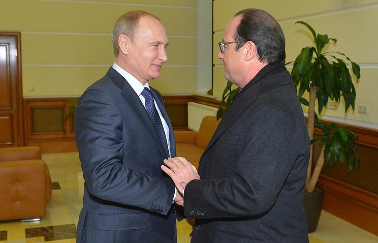 Президент России Владимир Путин провел встречу с президентом Франции Франсуа Олландом