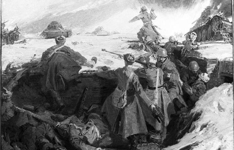 """Картина """"Подвиг 28 гвардейцев - панфиловцев"""", художник Дмитрий Мочальский."""