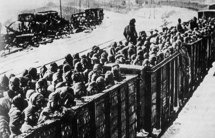 Поезд с советскими военнопленными. Германия. Октябрь 1941 года