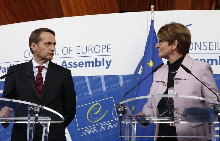 Спикер Госдумы РФ Сергей Нарышкин и председатель ПАСЕ Анн Брассер в Страсбурге