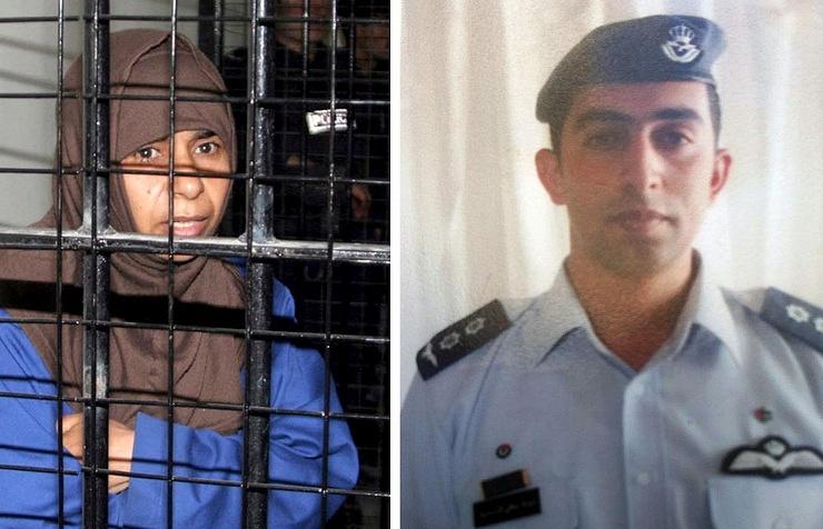 Заключенная Саджида ар-Ришави (на фото слева) и иорданский пилот, лейтенант Моаз аль-Кесабса