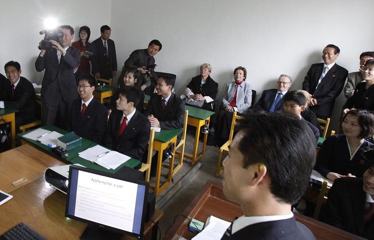 В университете иностранных языков, в Пхеньяне