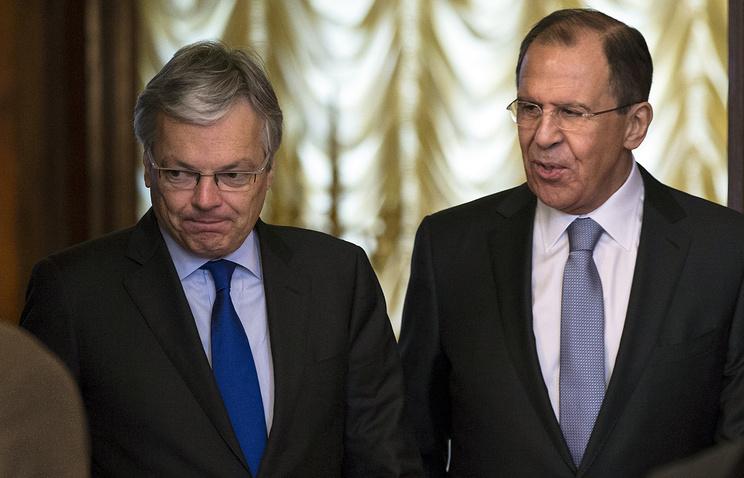 Глава МИД РФ Сергей Лавров и министр иностранных дел Бельгии Дидье Рейндерс