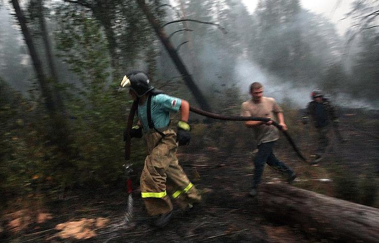 Тушение пожара в Московской области