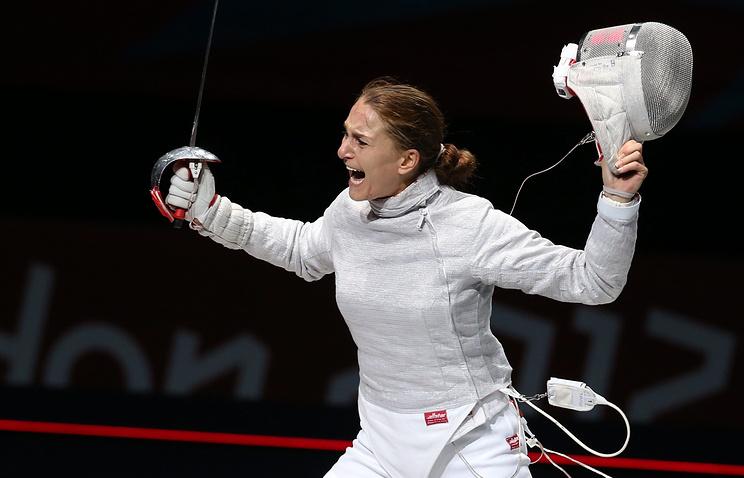 Софья Великая на соревнованиях по фехтованию на Олимпиаде-2012 в Лондоне