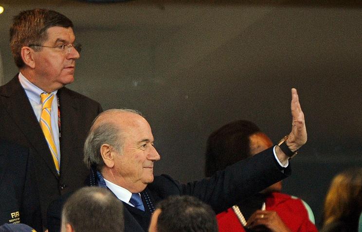 Президент ФИФА Йозеф Блаттер и глава МОК Томас Бах