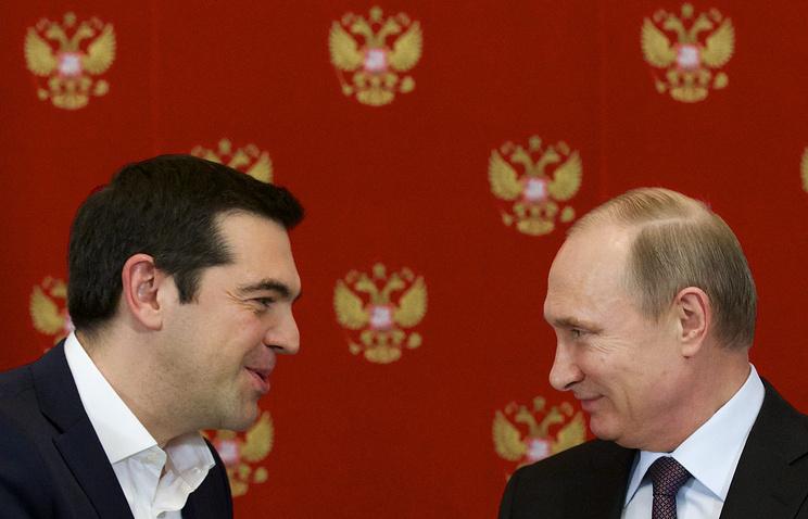 Премьер-министр Греции Алексис Ципрас и президент РФ Владимир Путин