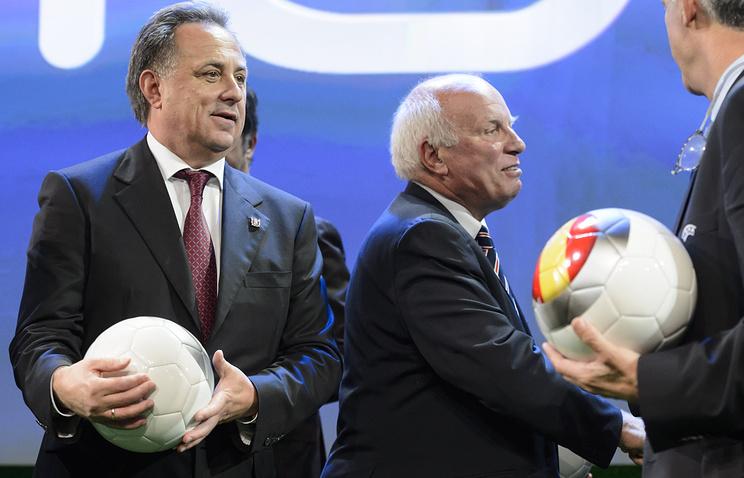 Министр спорта РФ Виталий Мутко и глава Футбольной ассоциации Англии (ФА) Грег Дайк