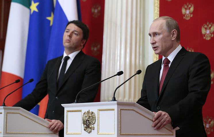 Премьер-министр Италии Маттео Ренци и президент России Владимир Путин. Москва, март 2015 года