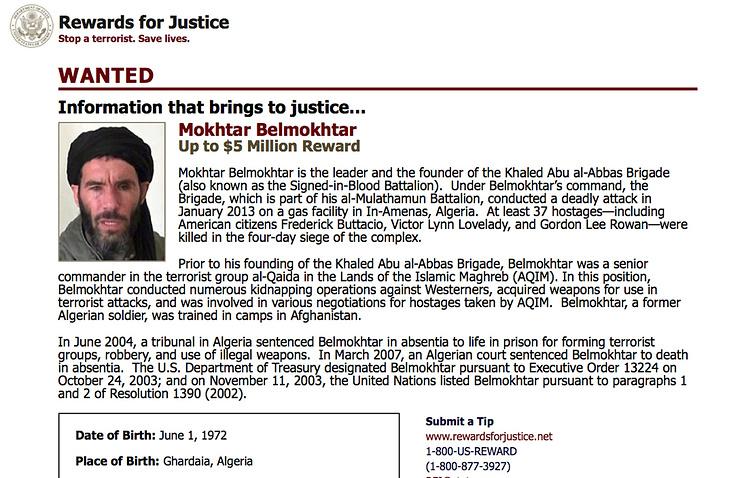 Скриншот страницы сайта Госдепартамента США, на которой сообщается о награде за информацию о местонахождении Мохтара Бельмохтара