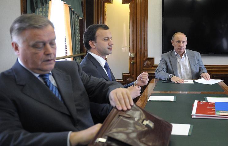Президент ОАО РЖД Владимир Якунин, вице-премьер Аркадий Дворкович и президент РФ Владимир Путин