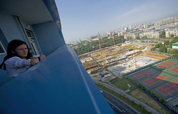 Вид на строящийся футбольный стадион ПФК ЦСКА