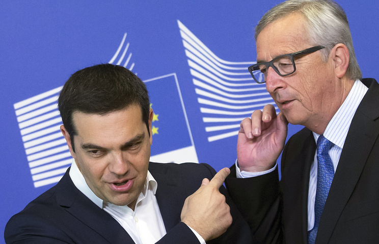 Премьер-министр Греции Алексис Ципрас и президент Европейской комиссии Жан-Клод Юнкер