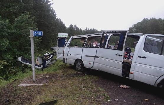 ДТП с участием двух автобусов в Красноярском крае 9 июля 2015 года