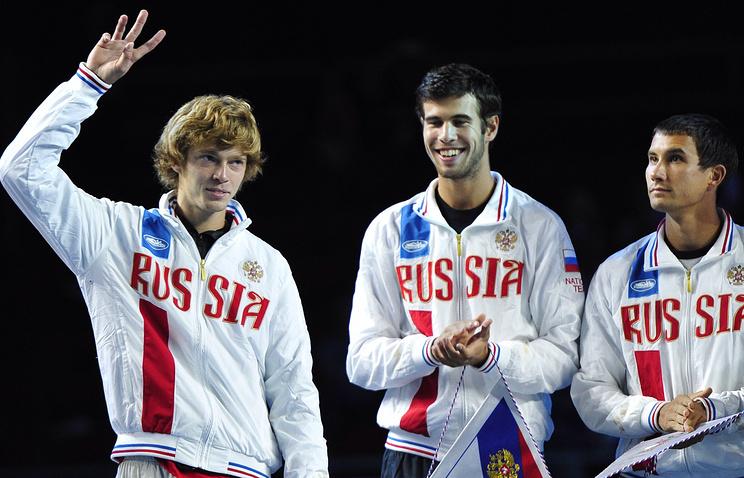 Российские теннисисты Андрей Рублев, Карен Хачанов и Евгений Донской