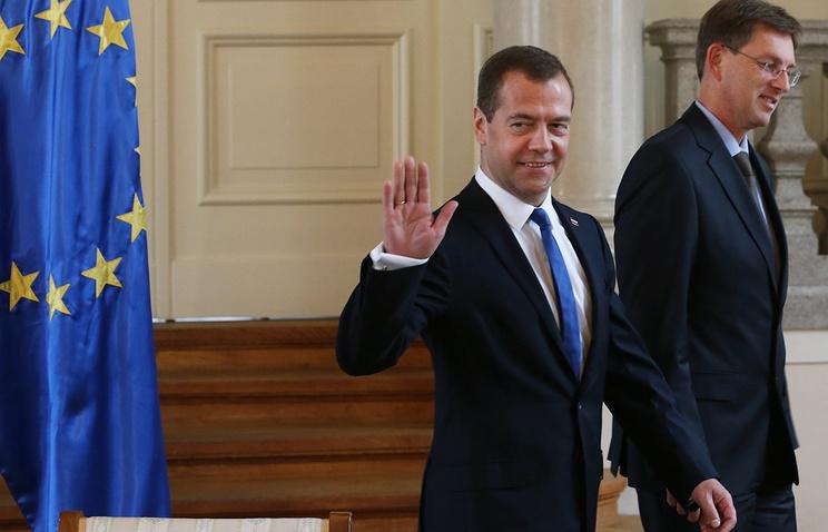 Премьер-министр РФ Дмитрий Медведев и премьер-министр Словении Миро Церар