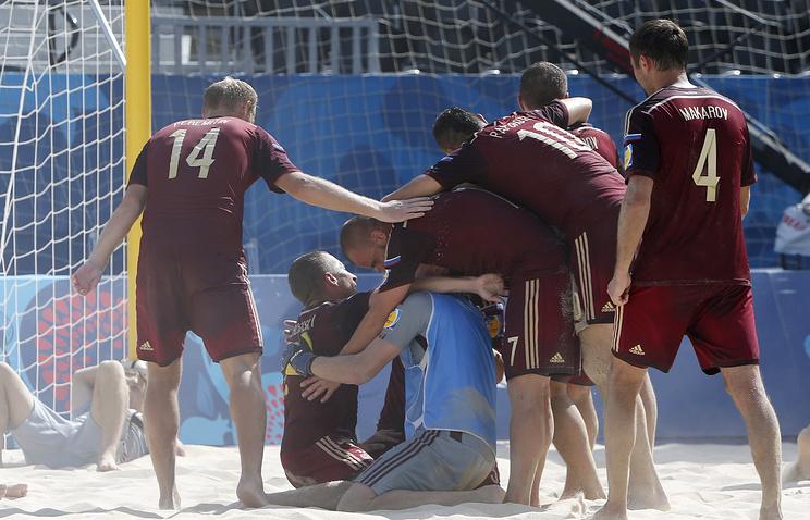 Игроки сборной России по пляжному футболу на Европейских играх в Баку