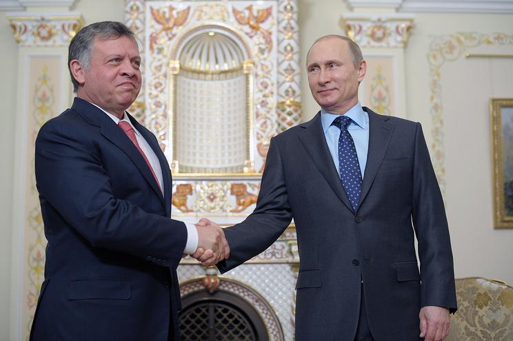Король Иорданского Хашимитского Королевства Абдалла II и президент РФ Владимир Путин (слева направо)