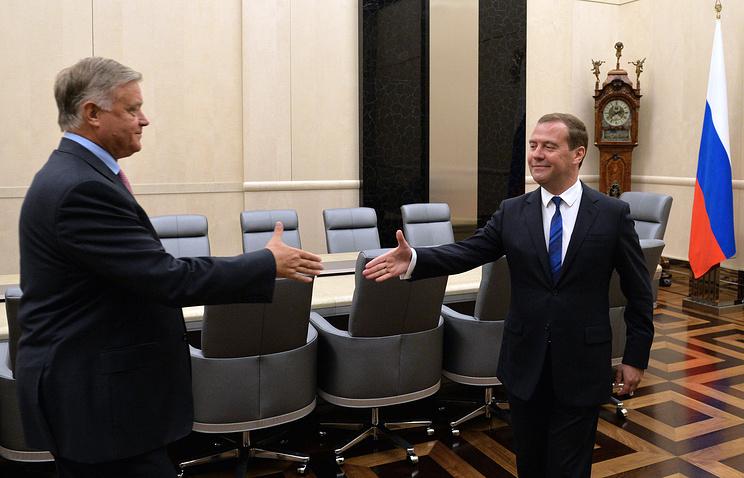 Владимир Якунин и Дмитрий Медведев