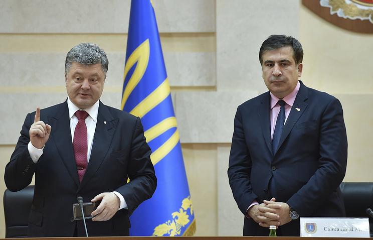 Президент Украины Петр Порошенко и губернатор Одесской области Михаил Саакашвили
