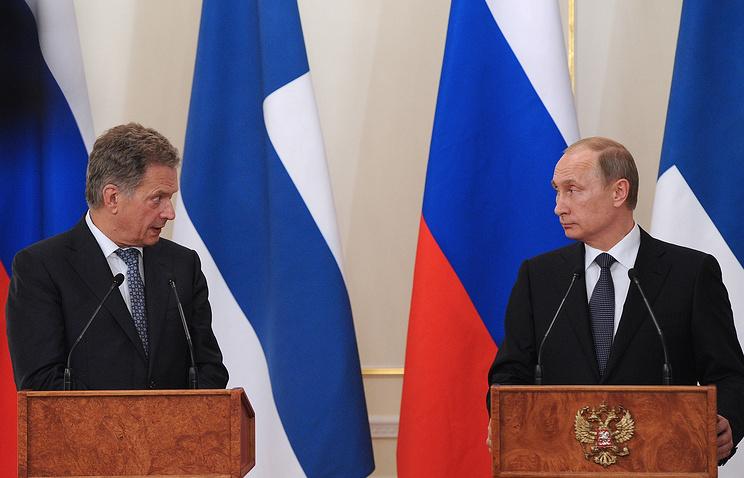 Президент Финляндии Саули Ниинисте и президент России Владимир Путин (слева направо), июнь 2015 года