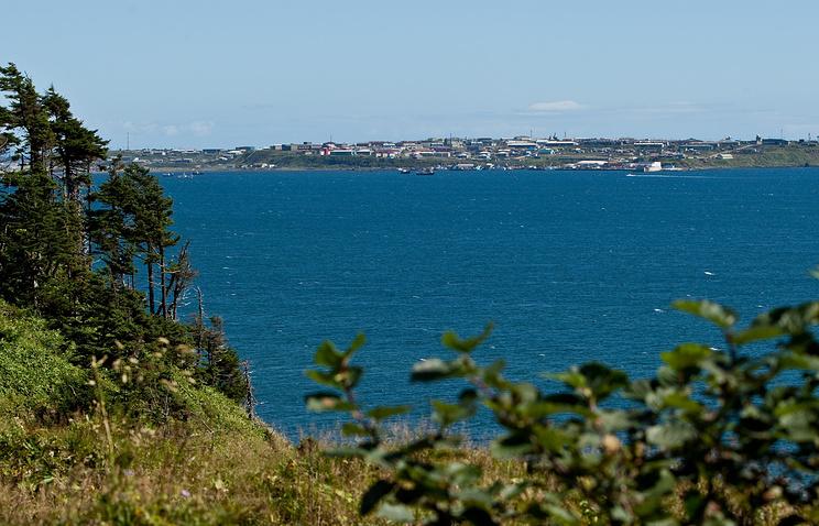Вид на поселок Южно-Курильск на острове Кунашир Курильской гряды