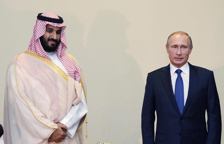 Министр обороны Саудовской Аравии принц Мухаммед бен Салман и президент РФ Владимир Путин