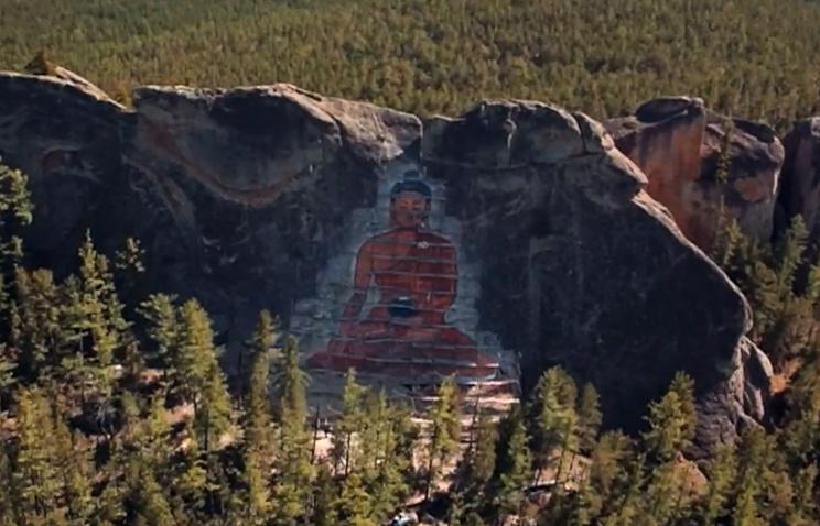 Наскале вБурятии выбили самое огромное в Российской Федерации изображение Будды
