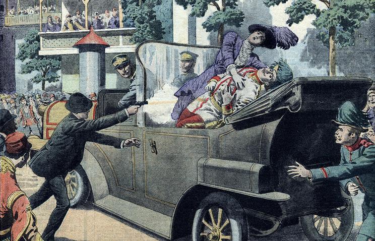 Изображение убийства Франца Фердинанда во французской газете Le Petit Journal от 12 июля 1914 года